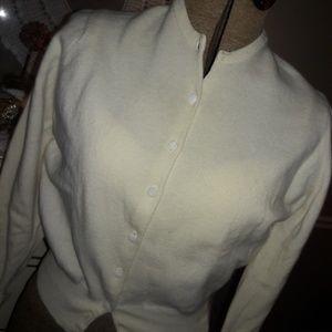 50s/60s ESTATE WINTER WHITE CARDIGAN! LOVELY!